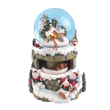 """Snowglobe """"Snowmen on sleighs"""""""