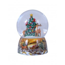 Snowglobe, porcelain base, animals decorate the Christmas tree