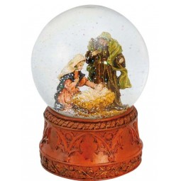 Snowglobe nativity scene, jesus in the crib