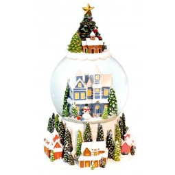 "Snowglobe ""Blue house with snowman"""