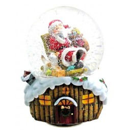 "Snowglobe ""Santa with bag and dog"""