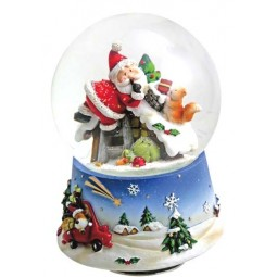"Snowglobe ""Santa and squirrel at the roof"""