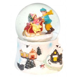 "Snowglobe ""Sled pushing boy"""