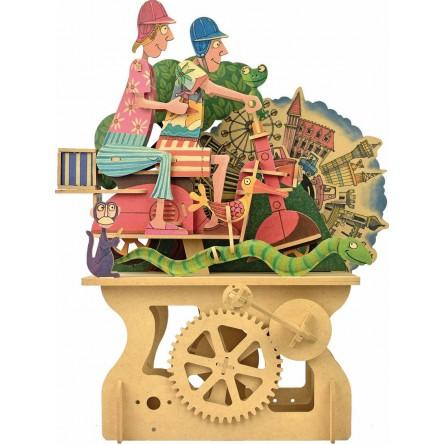 Kit d'assemblage en bois «Couple en moto»