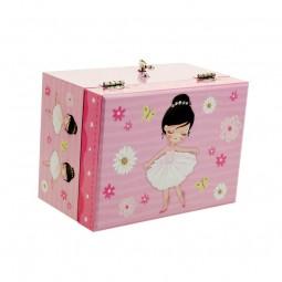 Boîte à bijoux rose ballerine parmi des fleurs