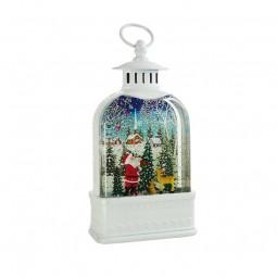 Boîte à musique en forme de lanterne avec Père Noël