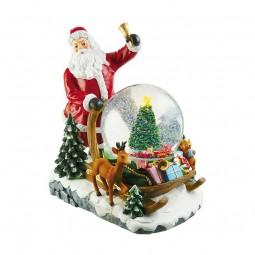 Boîte à musique Père Noël avec boule de neige sur son traîneau