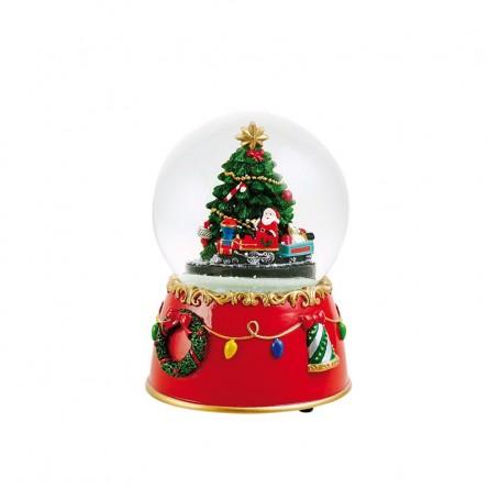 Boule musicale Père Noël en train