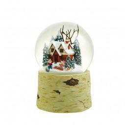 Boule de neige musicale enfants collectant du bois