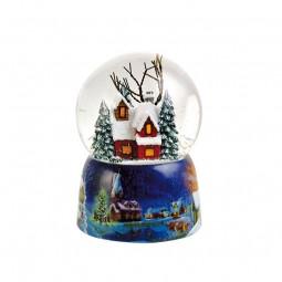 Boule de neige musicale maison illuminée
