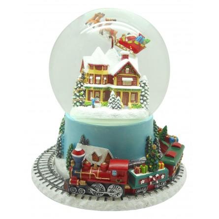 Boule avec maison et Père Noël