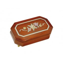 Boîte à bijoux octogonale avec fleurs