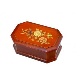 Boîte à bijoux haute simili marqueterie,fleurs