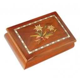 Boîte à bijoux classique simili marqueterie, Edelweiss