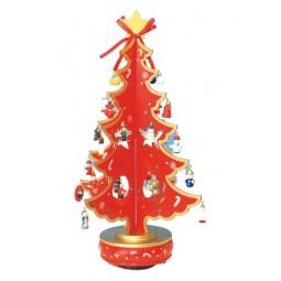 Sapin de Noël rouge, en bois