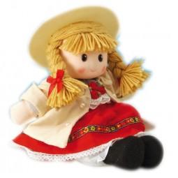 Poupée fille en costume folkorique rouge