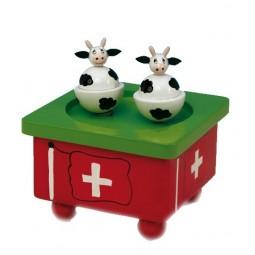 Vaches suisses danseuses en bois