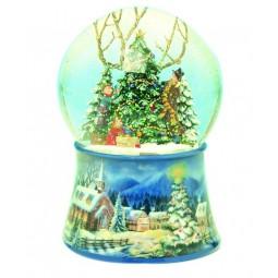 Boule décoration du sapin de Noël avec neige et paillettes