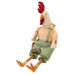 Coq assis chantant en étoffe