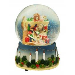 Boule de neige Noël des chats 100 mm