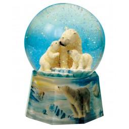 Boule ours polaires avec neige et paillettes