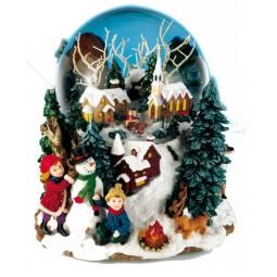 Boule scène hivernale avec neige et paillettes