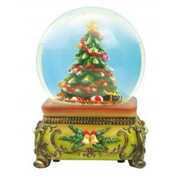Boule sapin de Noël avec neige et paillettes
