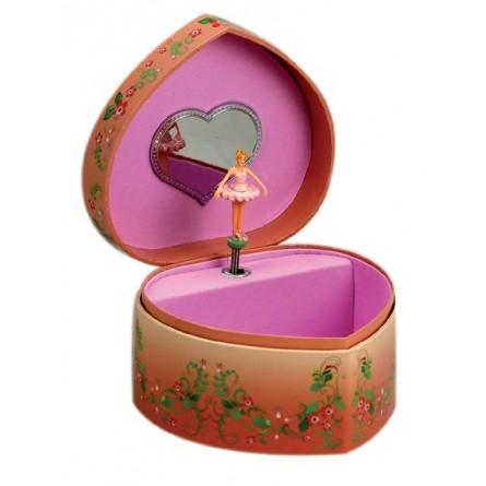 "Boîte à bijoux en forme de coeur ""ballerine rose"""