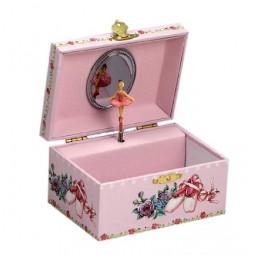 Boîte à bijoux rose, motif chaussons de danse