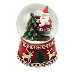 Boule de neige façon scandinave Père Noël avec sapin