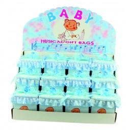 """Présentoir """"garçon"""" comprenant 12 boîtes bleues musicales"""