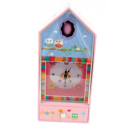 Boîte à musique chouette avec horloge