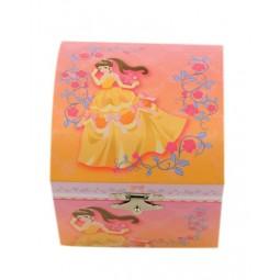 Boîte à bijoux carrée princesse en robe jaune