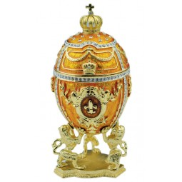 Boîte à musique en forme d'œuf, jaune, style Fabergé
