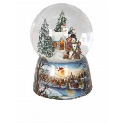 Boule en porcelaine scène d'enfants faisant un bonhomme de neige avec paillettes