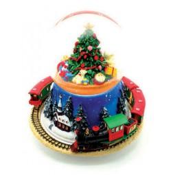 Boule de neige avec sapin de Noël et train
