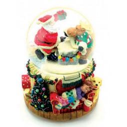 Boule Père Noël et élan avec neige et paillettes