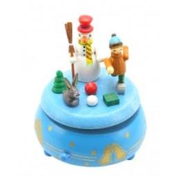 Boîte à musique en bois avec bonhomme de neige et enfant