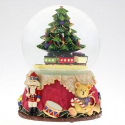 Boule sapin de Noël et train avec paillettes
