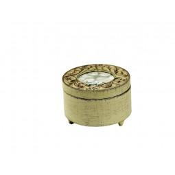 Boîte ronde, blanche en bois