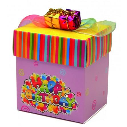 "Présentoir ""Happy Birthday"" comprenant 12 boîtes cadeau"