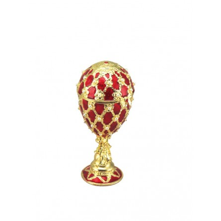 Oeuf décoratif rouge dans le style Fabergé