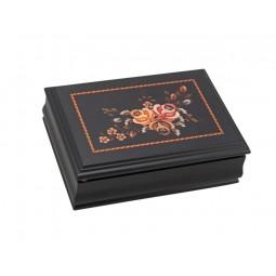 Boîte à bijoux en bois motif fleurs