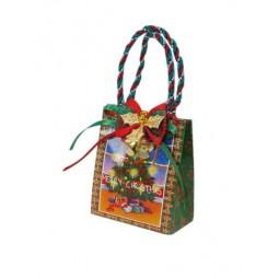 Présentoir comprenant 12 sacs multicolors de Noël