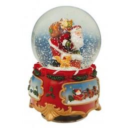 Boule Père Noël I avec neige et paillettes
