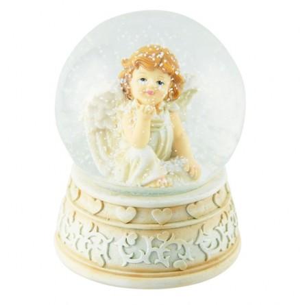 Boule de neige blanche avec ange songeur