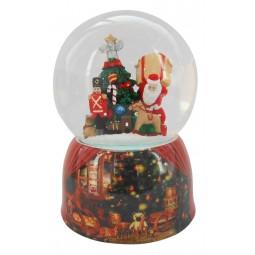 Boule de neige Père Noël portant les cadeaux