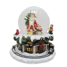 Boule de neige Père Noël avec sapin et cadeaux