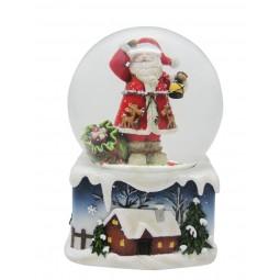 Boule de neige Père Noël avec lanterne et sac cadeau