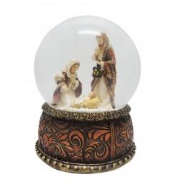 Boule crèche Marie agenouillée avec paillettes